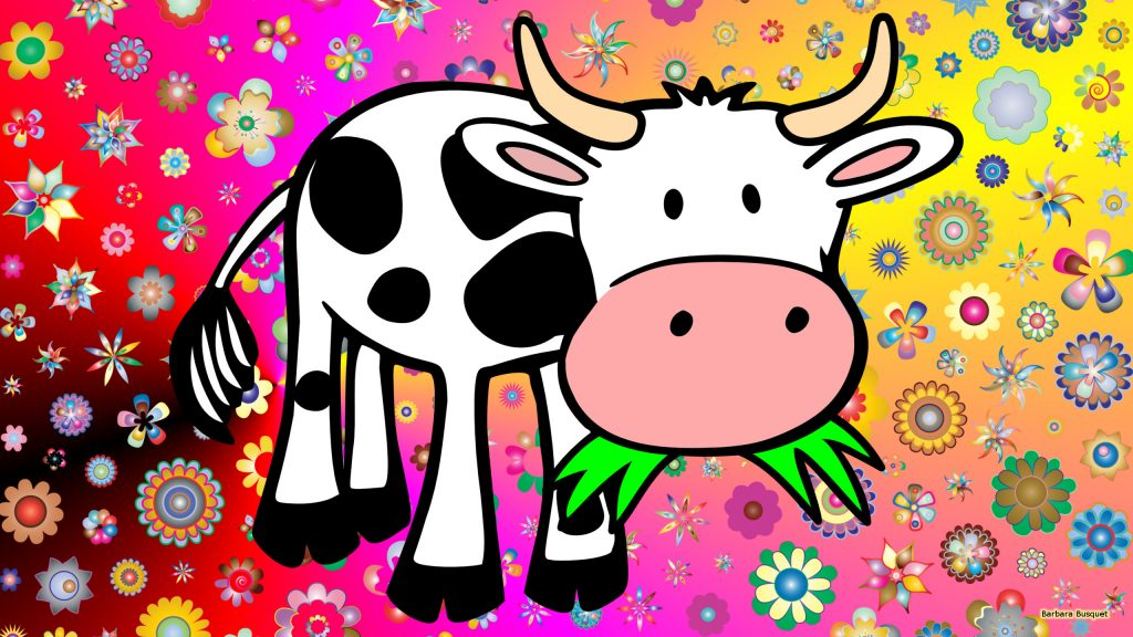 Colorful wallpaper cow and flowers