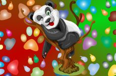 Panda bear in tree and paw prints