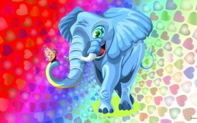 Colorful wallpaper with elephant and hearts