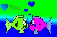 Love wallpaper with kissing fish