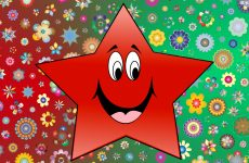 Red green wallpaper with star and flowers
