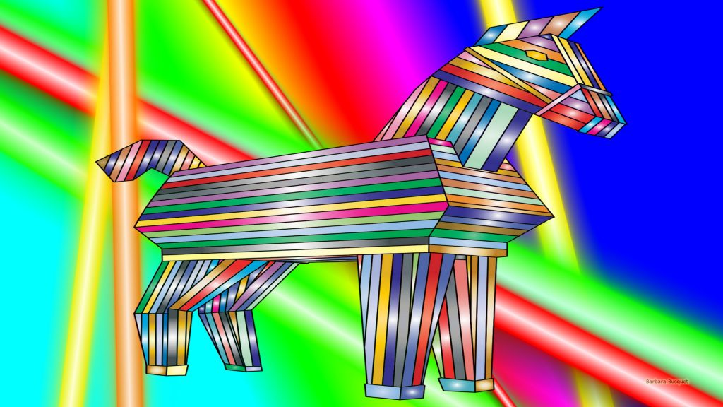 Colorful wallpaper with a trojan horse.