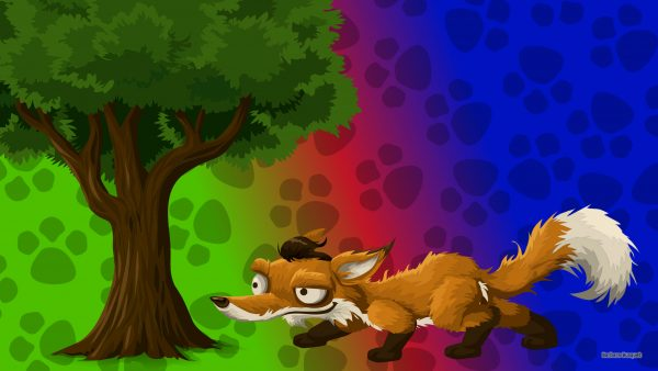 Animals wallpaper with a fox under a tree.