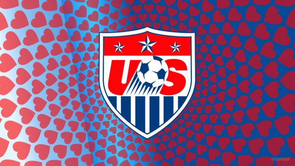 Blue USA Soccer wallpaper with red hearts