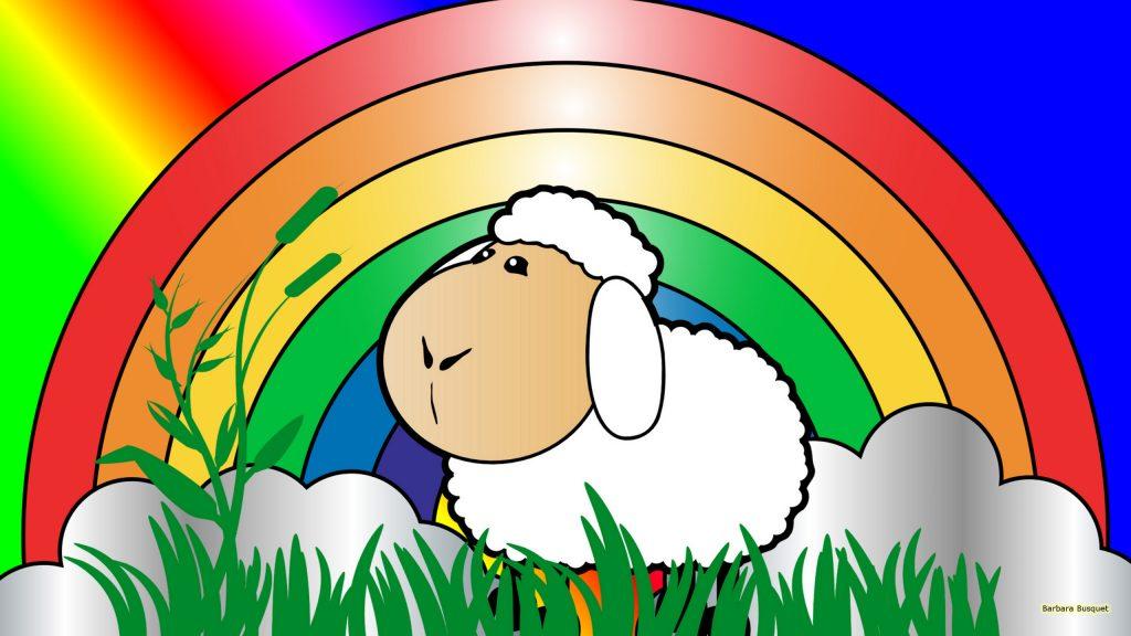 HD wallpaper sheep and rainbow