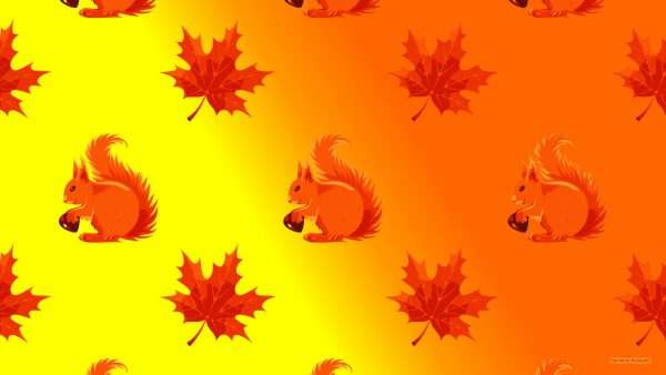 Fall wallpaper squirrel and leaves