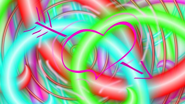 Abstract wallpaper neon and heart