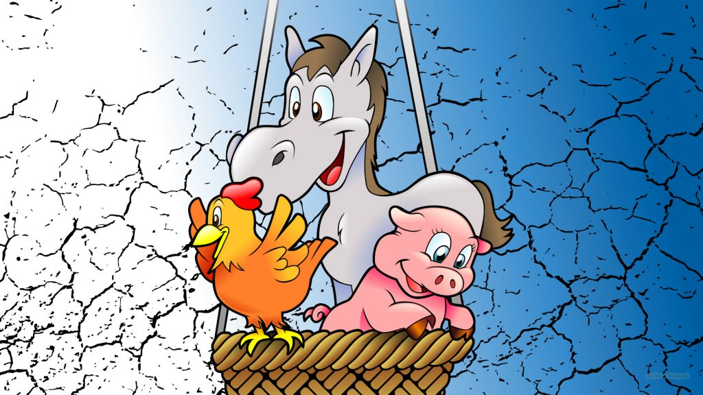 Animals in hot air balloon