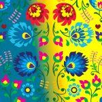 Blue yellow flower pattern wallpaper