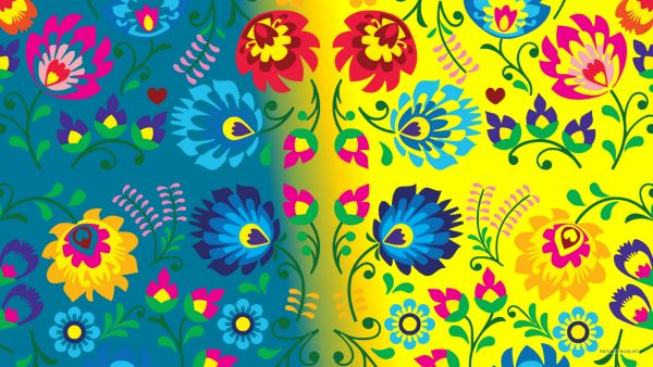 Blue yellow flower pattern wallpaper