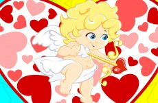 Cupid and hearts