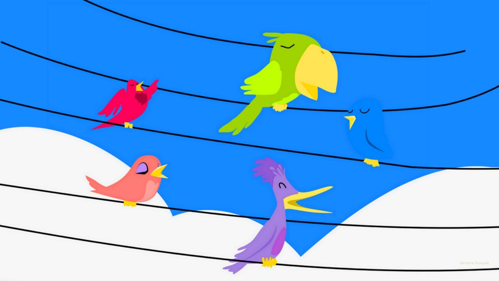 Wallpaper birds on electric wires