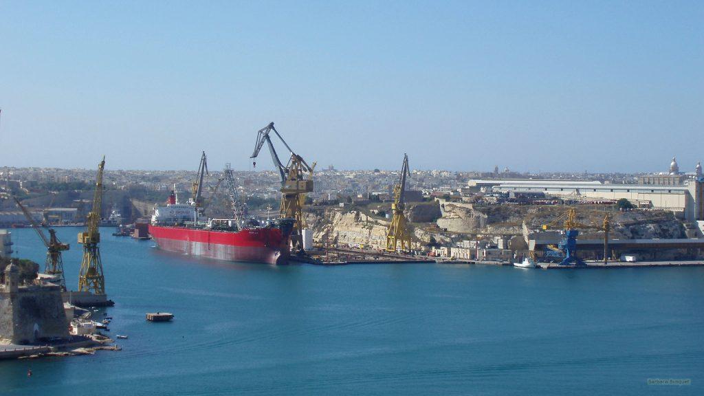 Huge ship in Malta harbor