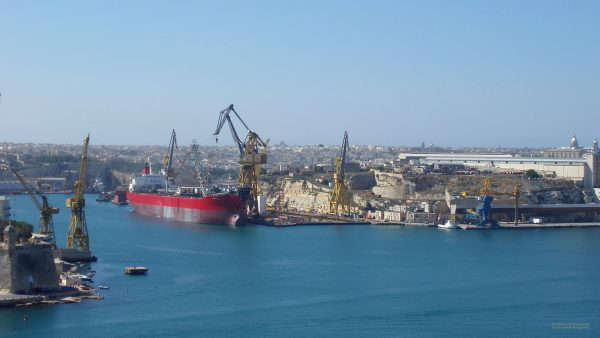 Huge ship in Malta harbor