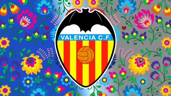 Blue gray Valencia CF wallpaper flowers