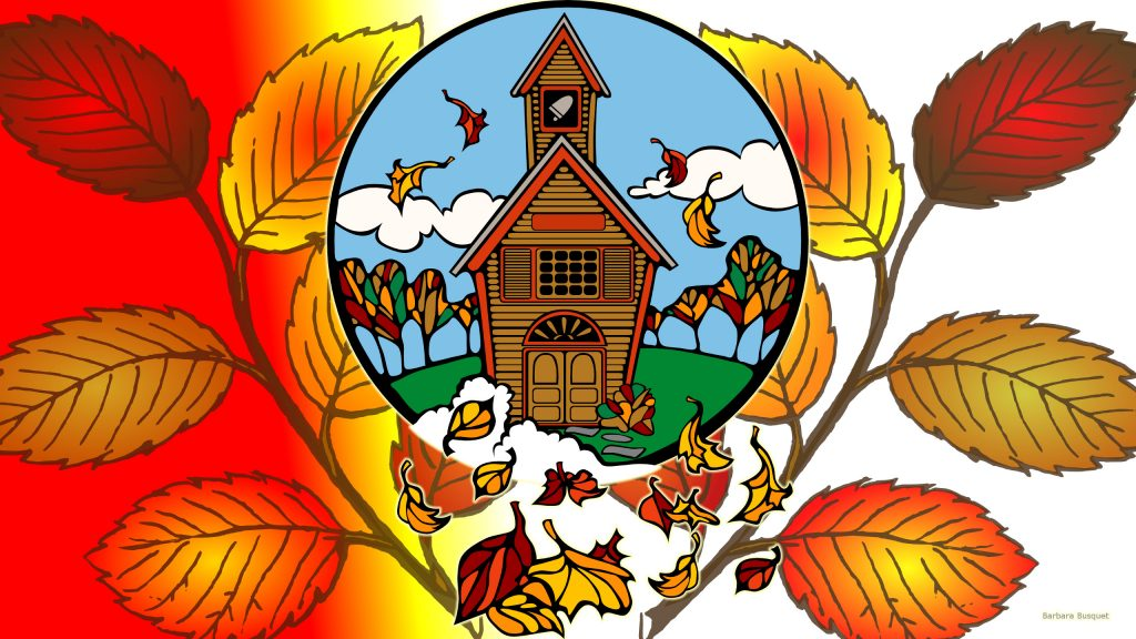 Fall wallpaper with church and leaves