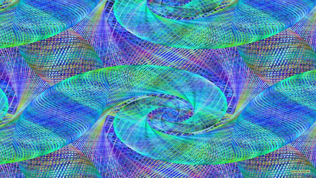 Blue green spiral wallpaper
