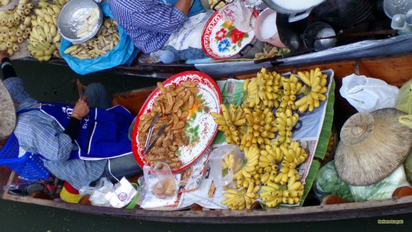 Selling bananas at floating market