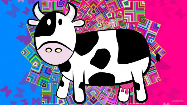 pink blue wallpaper with cow