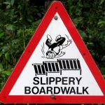 Slippery boardwalk traffic sign