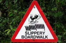 Slippery boardwalk traffic sign