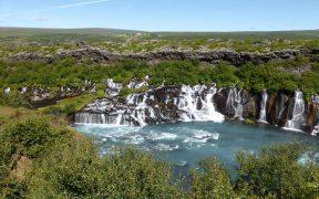 HD wallpaper Hraunfossar waterfalls