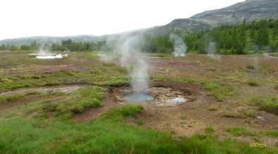 Landscape with geysers in Iceland