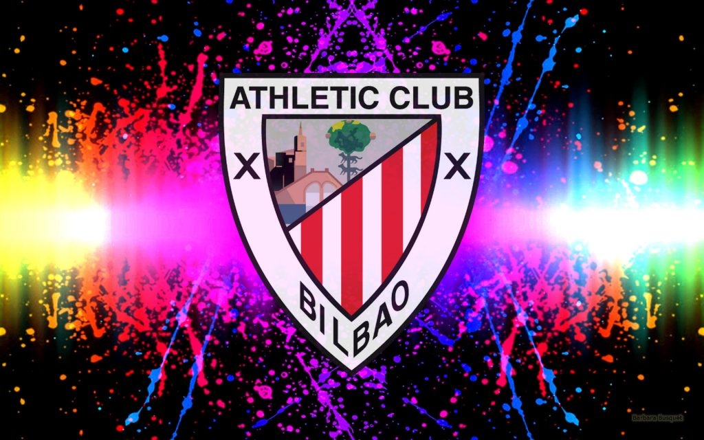 Athletic Bilbao logo wallpaper with paint splashes