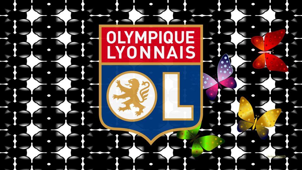 Black white Olympique Lyonnais football wallpaper