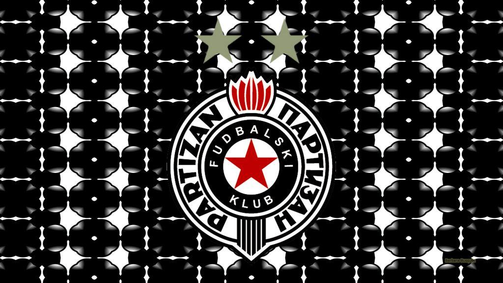 Black white Partizan Belgrade logo wallpaper