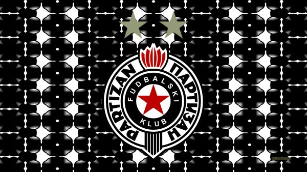 Black white Partizan Belgrade logo wallpaper