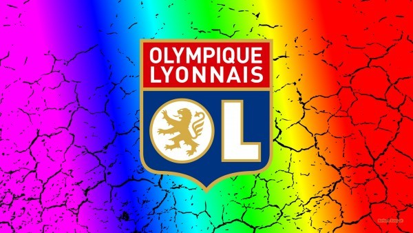 Colorfull Olympique Lyonnais wallpaper with cracks