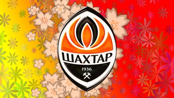 Flower pattern Shakhtar Donetsk logo wallpaper