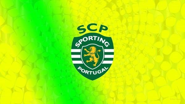 Yellow green Sporting CP football club emblem wallpaper