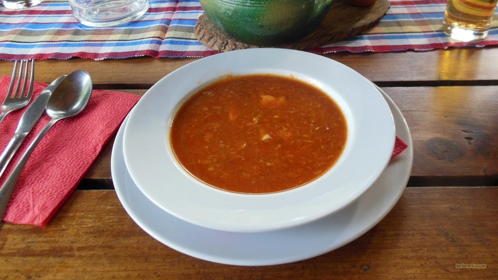 Eating fishsoup in Serbia