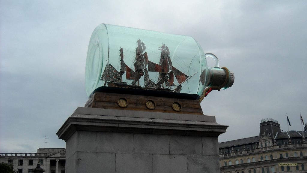 Model ship in glass botle London