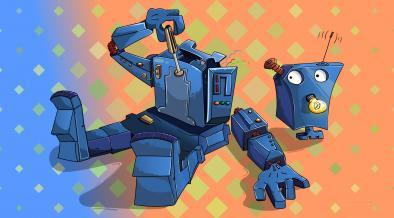 Funny wallpaper with robot