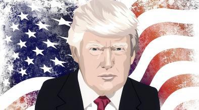 President Trump and American Flag